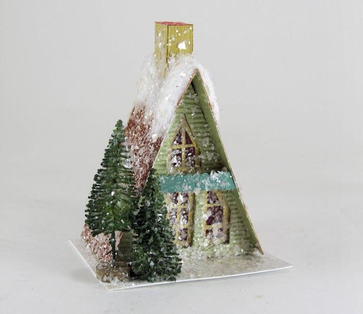 "Cody Foster 5"" A Frame Cabin Green Christmas Mantel Village House Tree New #CodyFoster"