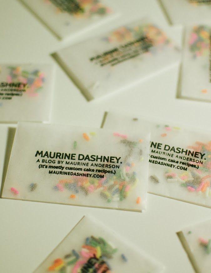Make business cards with glassine envelopes and sprinkles.