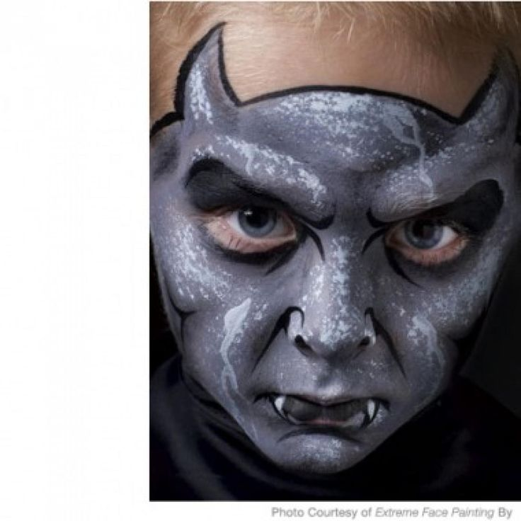 spooky gargoyle face painting design - Easy Scary Halloween Face Painting Ideas