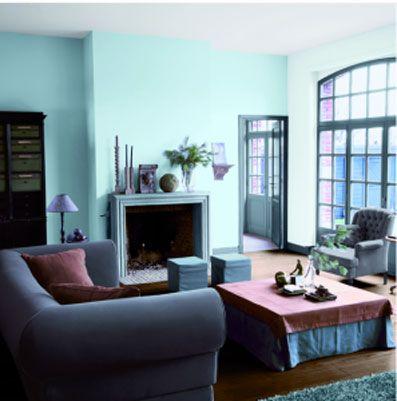 decoration salon bleu coussin vieux rose en contraste - Decoration Salon Bleu