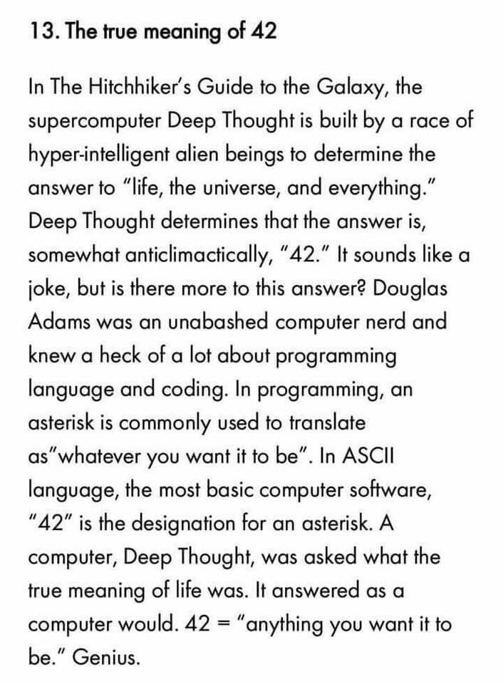 The true meaning of 42 from Hitchhiker's Guide to the Galaxy