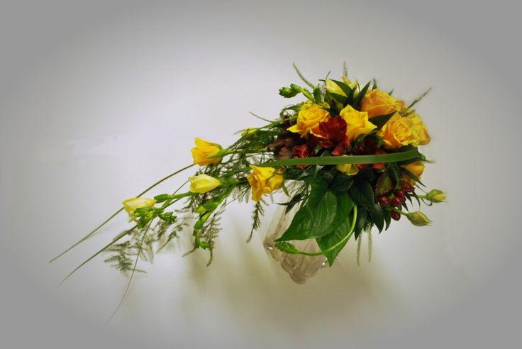 Brudebukett gul med rødt