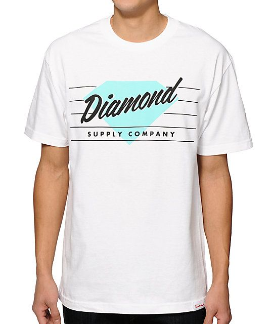 Elevate your style with a crisp white colorway that showcases a black and mint Diamond Supply Company script and diamond logo chest graphic.