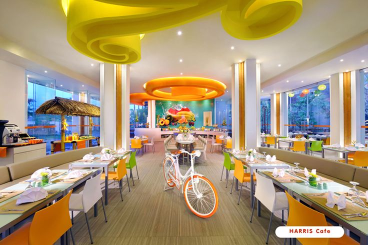 Stylish Restaurant with Orange Color, really Fresh and Unique !