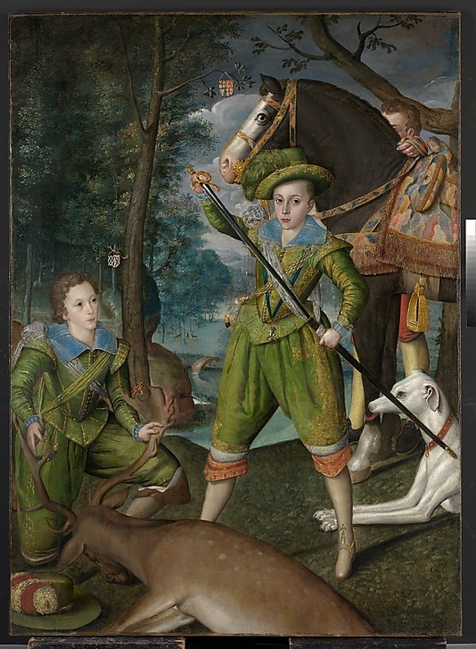 Henry Frederick (1594–1612), Prince of Wales, with Sir John Harington (1592–1614), in the Hunting Field  Robert Peake the Elder (English, ca. 1551–1619 London)  Date: 1603