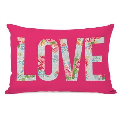 Love Cabbage Rose Ozsale Hot Pink 14x20 Pillow-72653PL42-Hot-Pink