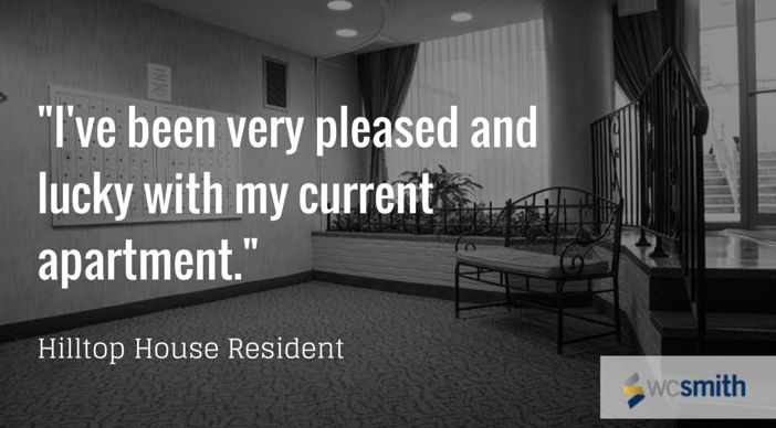 """""""I've been very pleased and lucky with my current apartment."""" 