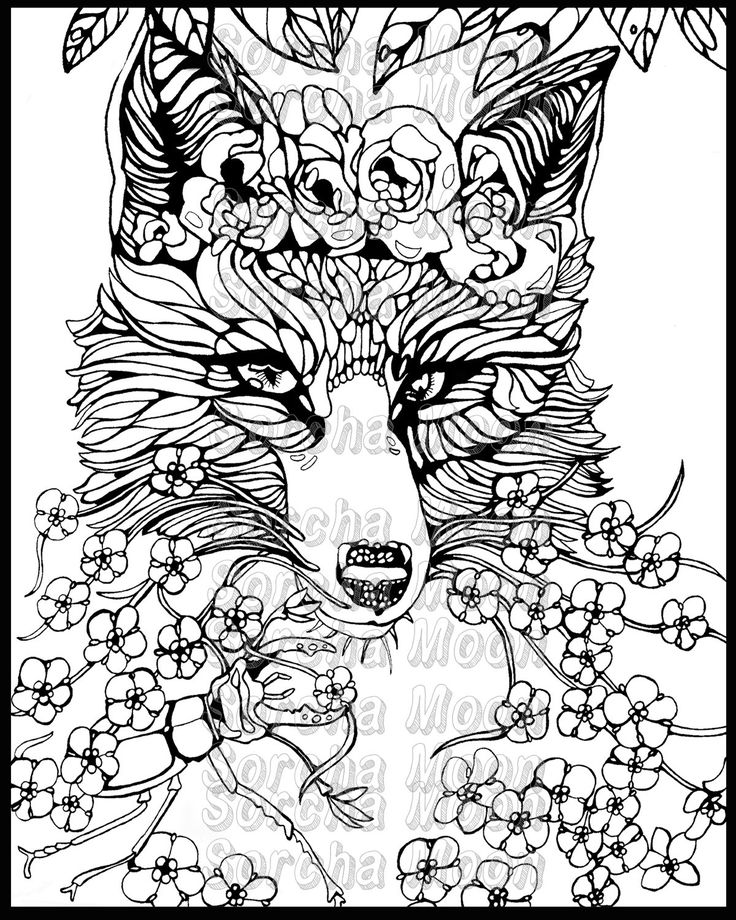Fox Forget Me Nots Coloring Page for Adults by SorchaMoon ...