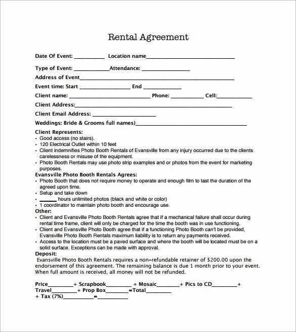 Party Rental Agreement Template Elegant Sample Booth Rental Agreement 14 Documents In Pdf Word Rental Agreement Templates Contract Template Templates
