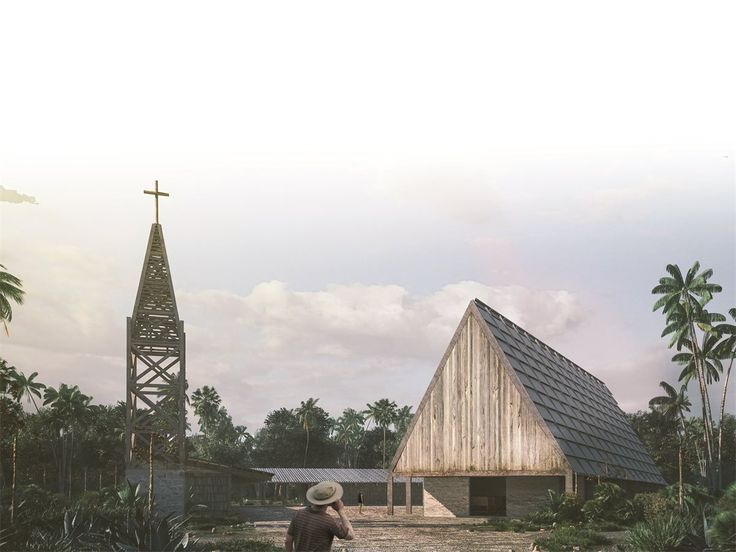 The project rebuilds a church in an old lumber town on a lagoon. Wood from the original chapel and other buildings is recycled to erect a modular structure adapted to local timber construction. Respecting the site, the new church and community center define a square for public use, including cultural and educational programs that complement religious activities. The building ensemble uses passive ventilation; rainwater collection; and polluted water from the lagoon is cleaned.