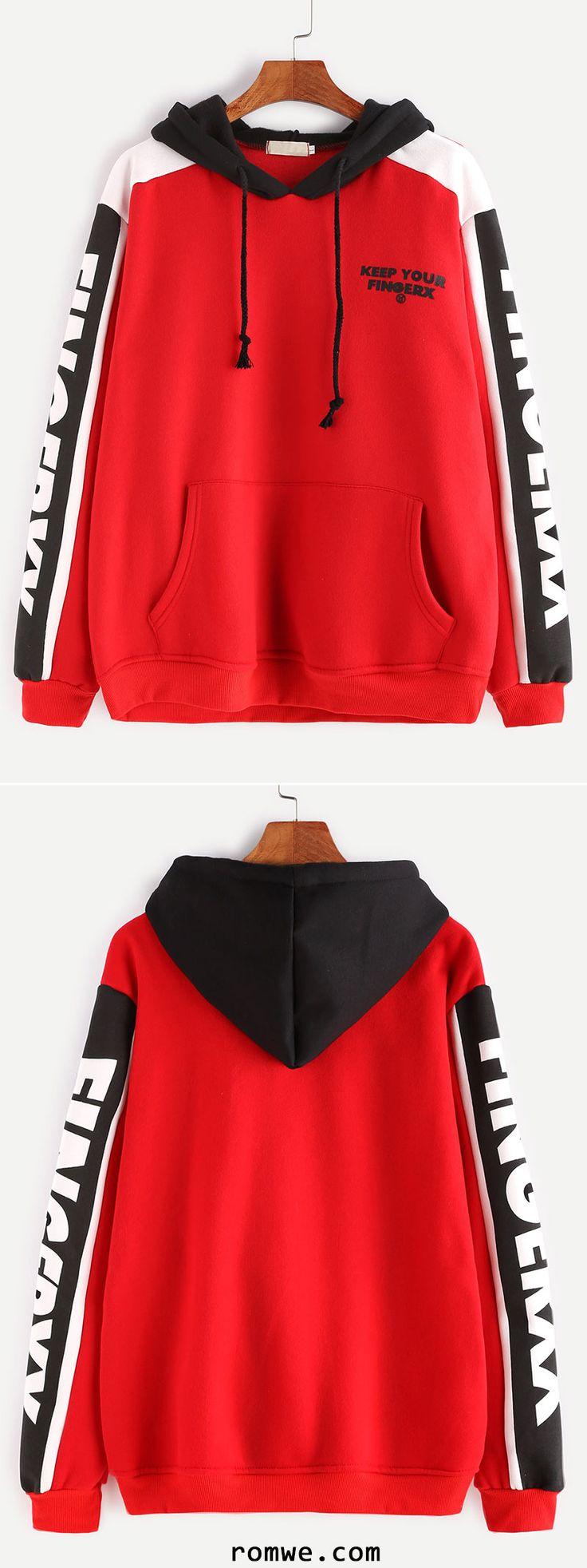 Red Contrast Letter Print Drawstring Hooded Pocket Sweatshirt