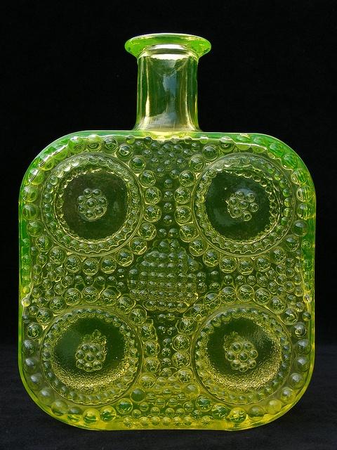 "Riihimaki ""Grapponia"" vaseline glass bottle designed by Nanny Still by art-of-glass, via Flickr"