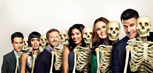 Main Cast Left to right: John Boyd (James Aubrey) Tamara Taylor (Camille Saroyan) TJ Thyne (Jack Hodgins) Michaela Conlin (Angela Montenegro) Emily Deschanel (Temperance 'Bones' Booth) David Boreanaz (Seeley Booth)