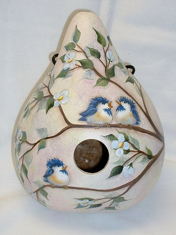 Baby Chickadees Gourd Birdhouse  Hand Painted by FromGramsHouse