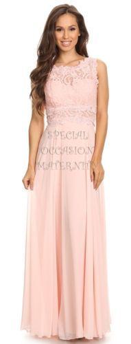 New-Long-Blush-Pink-Lace-Jewels-Maternity-Dress-Gown-Chiffon-MEDIUM-Special-NWT