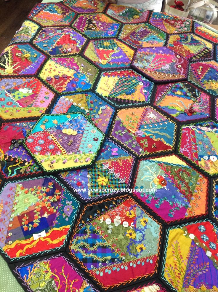 Foolproof crazy quilting, crazy quilting, hexagons, embroidery, beading, patchwork,