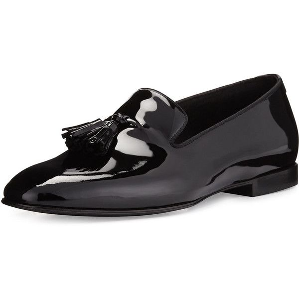 TOM FORD Chesterfield Patent Leather Tassel-Front Loafer ($1,475) ❤ liked on Polyvore featuring men's fashion, men's shoes, men's loafers, black, mens loafer shoes, mens slipon shoes, mens patent shoes, mens patent leather shoes and mens black slip on shoes