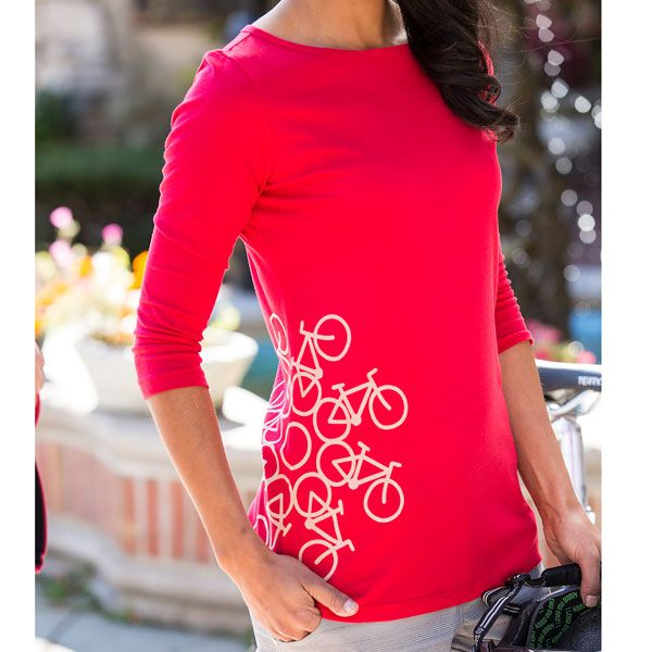 Women's Cycling T-Shirts, could probably make something similar with bleach pen & stencil!