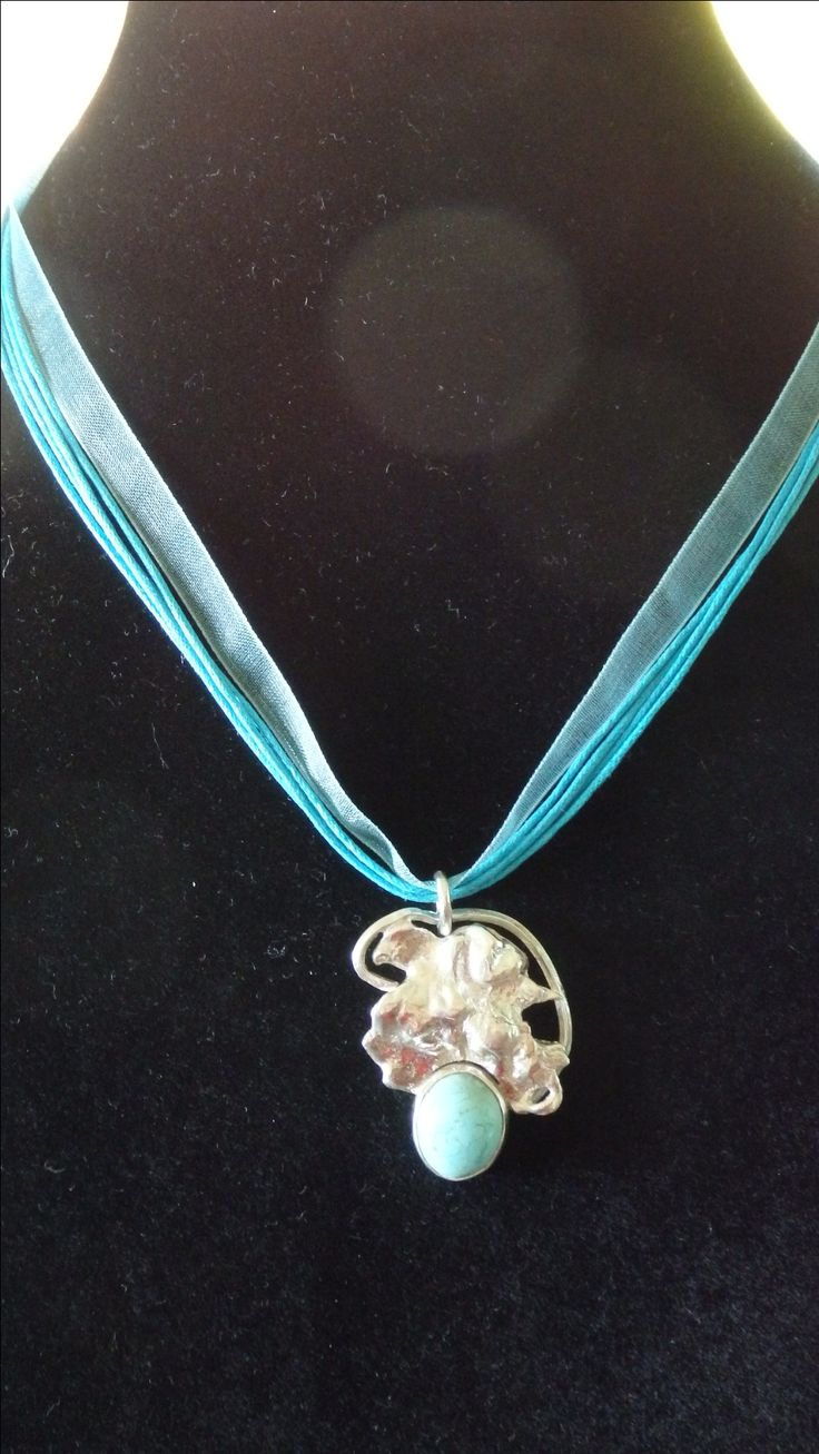 Freeform Sterling Silver and Australian turquoise pendant.