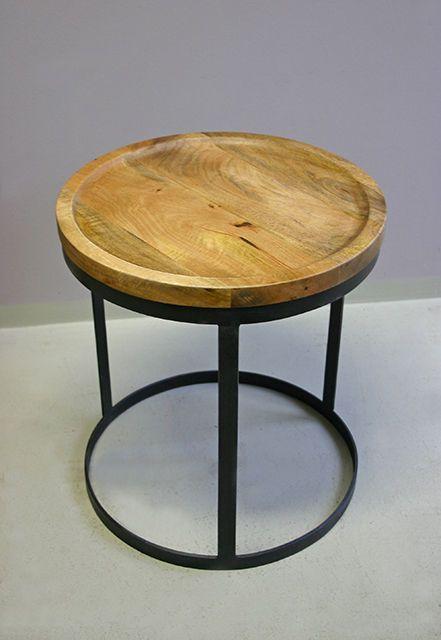 Beistelltisch Rund Holz Und Metall Industriedesign In Mobel Wohnen Mobel Tische Ebay
