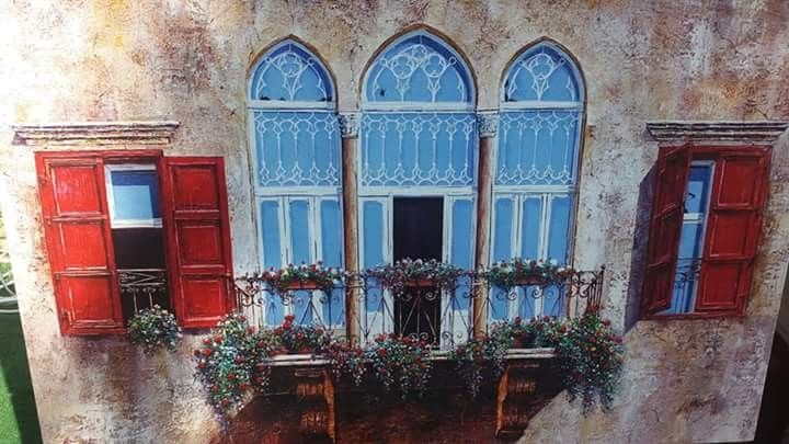 لوحة مرسومة لبيت قديم Old Houses Painting Traditional