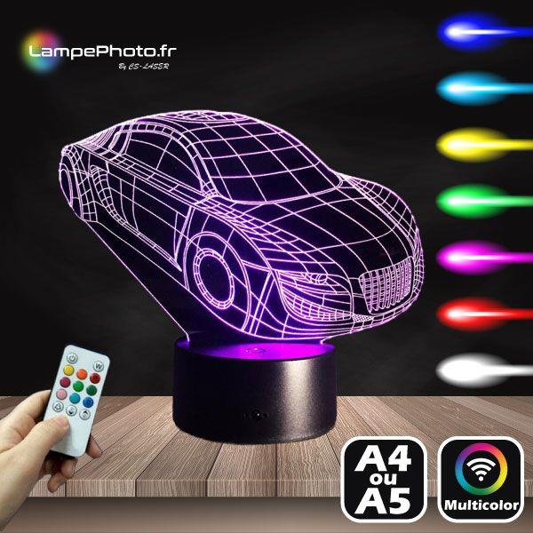 11 9 Lampe 3d Audi Sport Concept Car Sur Socle Led Au Choix Avec Telecommande Acryl