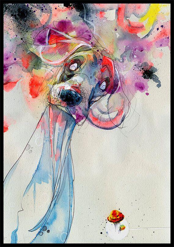 Dog Art Print - Dog Wall Art - Print of Original Watercolor Painting - Mixed Media Art