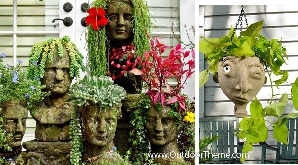 Planters With Personalities: Face Pots Gardening Accessories | outdoortheme.com
