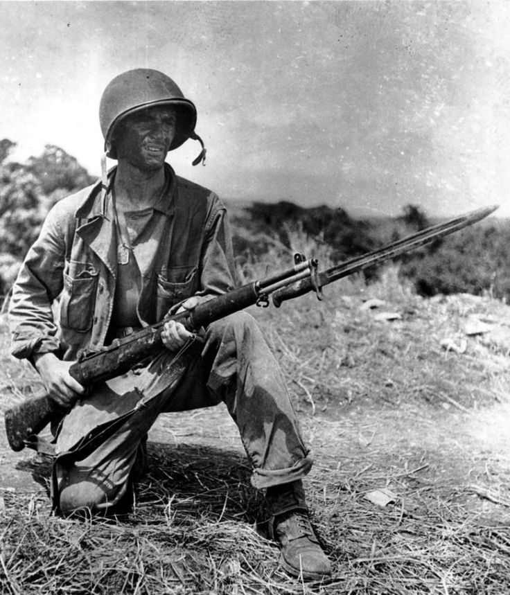 WWII — U.S. soldier at the Battle of Guadalcanal in the ...