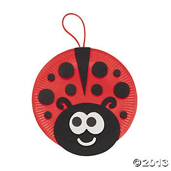 Paper Plate Ladybug Craft.  We plan on using coconut shells...painting them,,,same idea.