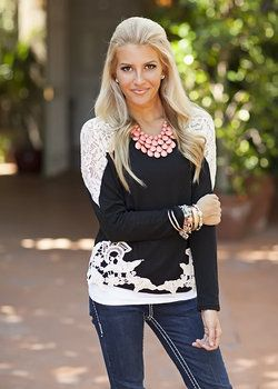 All Out In Lace Top Black - Modern Vintage Boutique