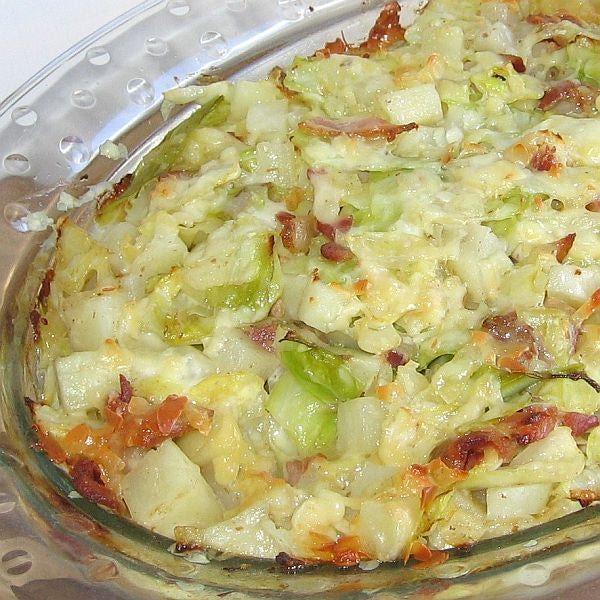 'Recipe for Polish Cabbage, Potato and Bacon Casserole or Zapiekanka z Kapusta, Ziemniak i Boczek'