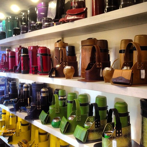 Mate cups and bags in every color in Colonia del Sacramento Uruguay