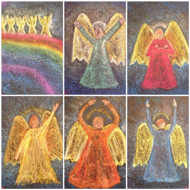 Waldorf ~ 1st grade ~ Letters ~ Vowels ~ Chalkboard drawing of Eurythmy Movements