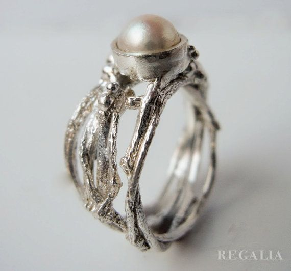 BEAUTIFUL WORK DONE IN OUR HOME TOWN. Pearl Tree Ring by alexandratumanov on Etsy