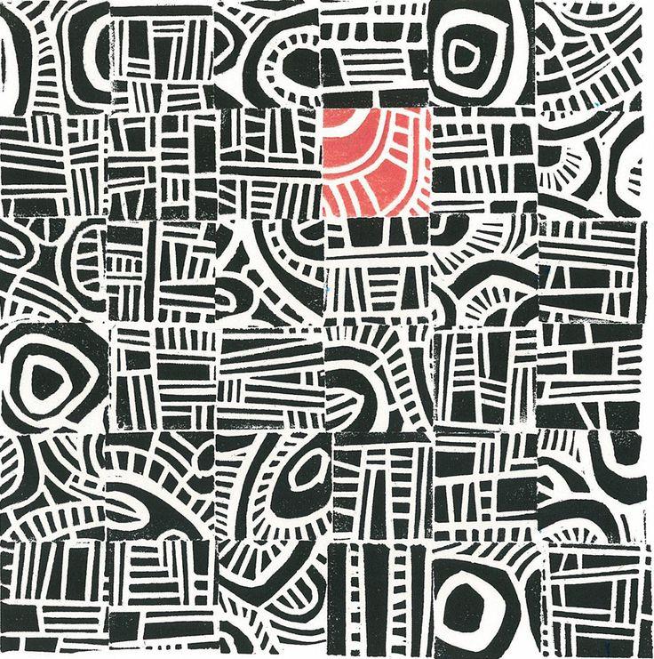 LINOCUT RELIEF PRINT - Hundertwasser Mini - Mid Century Modern Linoleum Block…