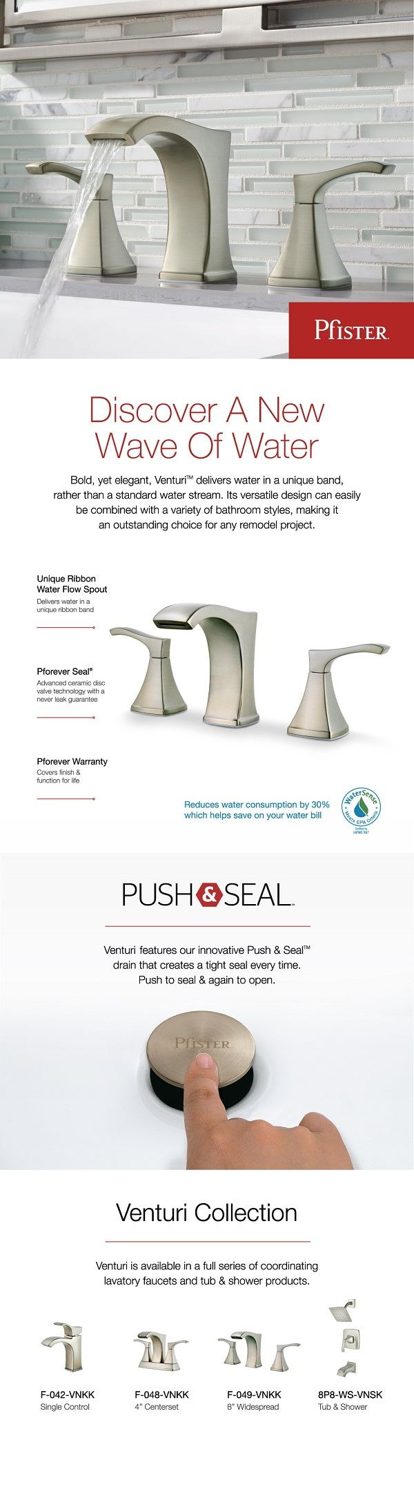 Pfister Venturi Widespread Bathroom Faucet Brushed Nickel