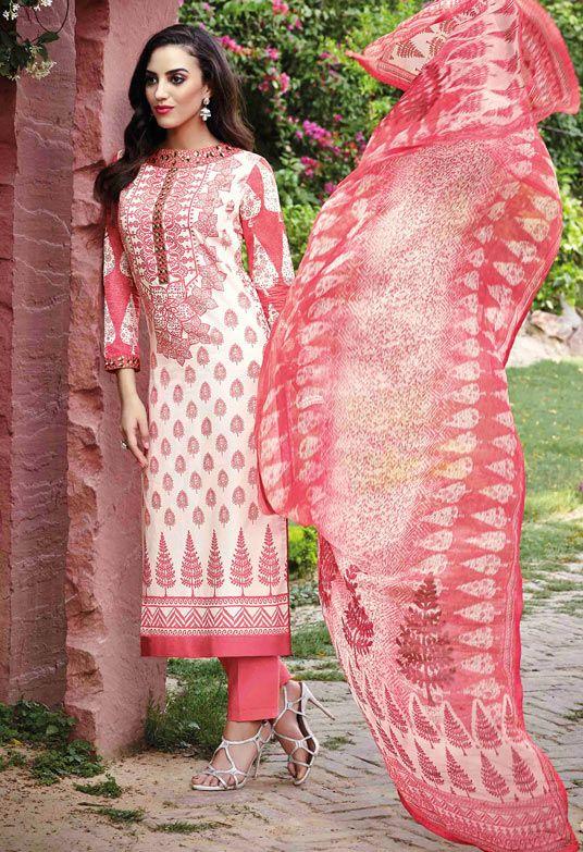 USD 45.32 Pink Lawn Cotton Pakistani Style Suit 54301