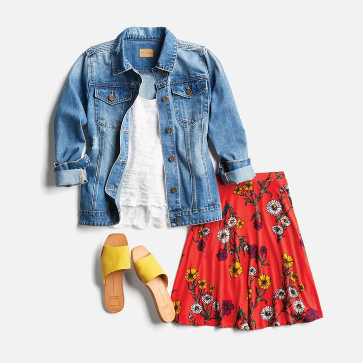 Love the jacket and t-shirt!  I would wear it with a cute longer skirt...to hide my skinny, super white legs!