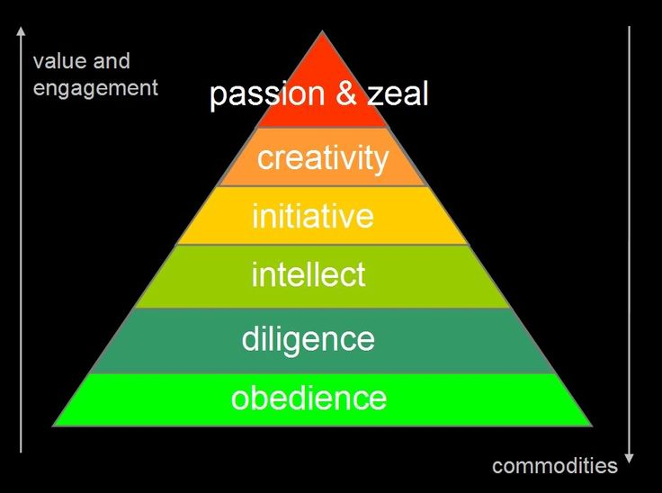 Gary Hamel's pyramid of human capabilities    There are 6 levels of engagement and human capabilities in the work space :