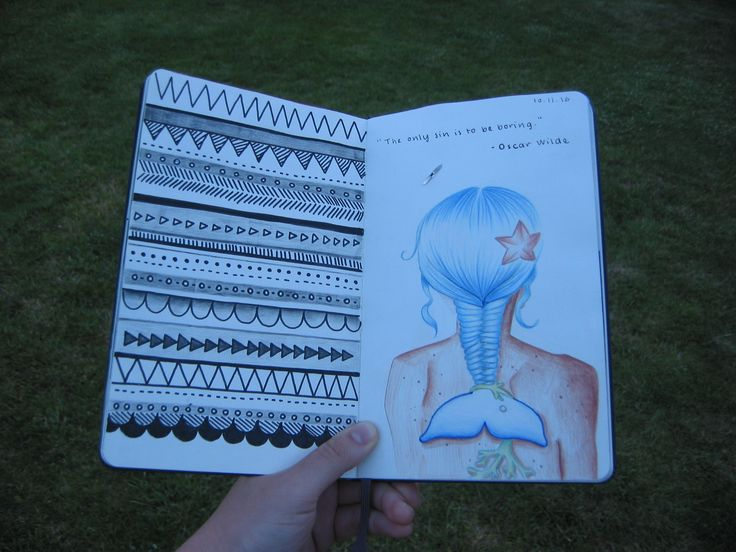 Taken the 'fishtail' idea quite literally on page 11 and 12 of my art journal