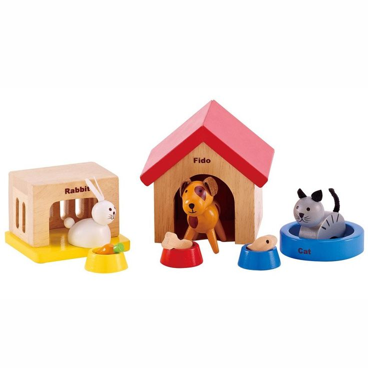 This set of 3 friendly pets and their care accessories is a must for any play a house or play a vet game. Manufactured by Hape. Recommended for 3 years, 4 years, 5 years.