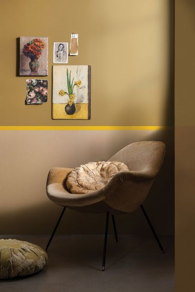 Goldocker kobminiert mit einem sonnigen Gelb und warmen Beige  #Dulux #CF16 #Goldocker #interiordesign