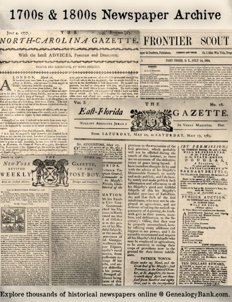 Hundreds of 1700s & 1800s Historical Newspapers Just Added to GenealogyBank! See the list: http://blog.genealogybank.com/list-of-450-historical-newspapers-just-added-to-genealogybank.html?utm_source=social&utm_medium=pinterest&utm_campaign=SM_1505_18&s_referrer=social&s_siteloc=pinterest&s_trackval=SM_1505_18&kbid=69919