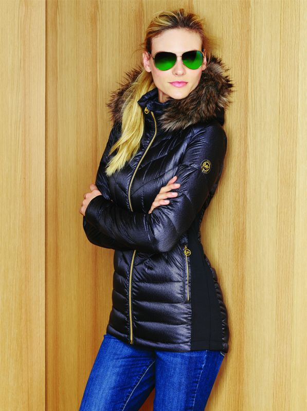 Michael Michael Kors Chevron Quilted Puffer Jacket With