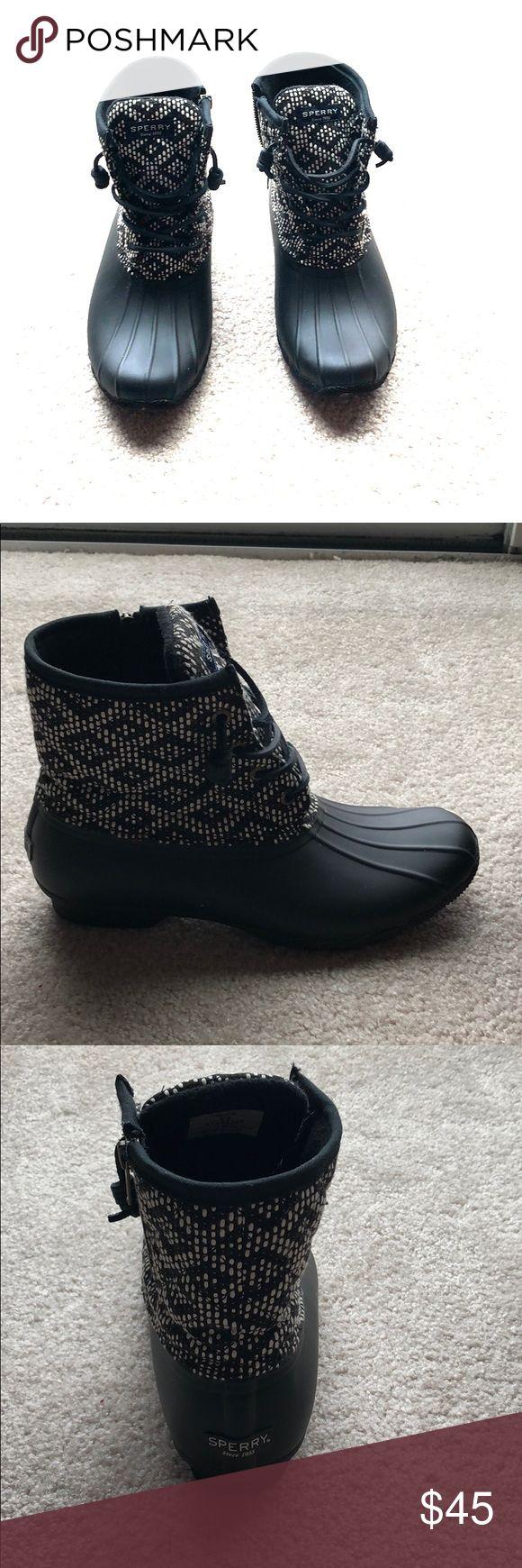 Sperry Duck Boots Women's Sperry Heavy Linen Duck Boots. Waterproof. Insulated & warm. Black & white heavy linen upper. Worn just a handful of times. Sperry Shoes Winter & Rain Boots