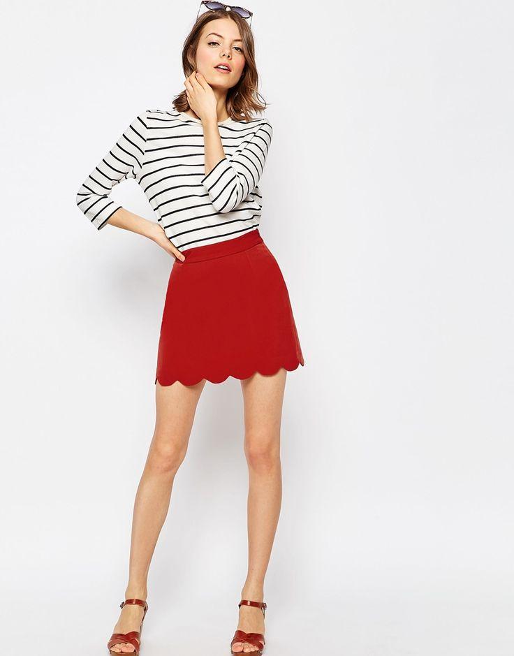 Image 1 - ASOS - Mini jupe trapèze à ourlet festonné
