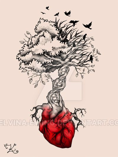 Tree Heart Birds DNA Tattoo by Elvina-Ewing on @DeviantArt