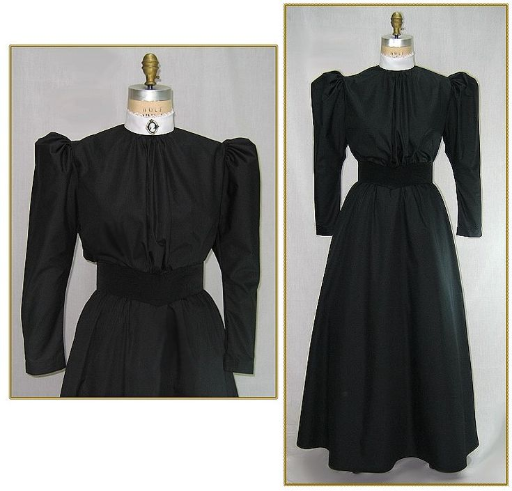 Victorian Maids Blouse  Cotton/Poly Broadcloth. Color: Black with White Collar. Victorian styling with gathered leg of mutton sleeves. White stand up collar edged in white ruffled lace, back button closure. Shown with maid skirt, Circa 1890-1900.