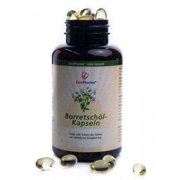 Borretschöl Kapseln ZeinPharma-ist ein altbewertes Naturheilmittel und enthält Kieselsäure, Mineralien, Vitaminen, ätherischen Ölen und vor allem Gamma Linolensäure(GLS) -eine mehrfach ungesättigte Omega-6-Fettsäure.